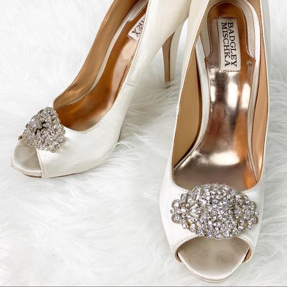 492ac9715e8 Badgley Mischka Shoes - BADGLEY MISCHKA Satin Peeptoe Rhinestone Heels 8.5